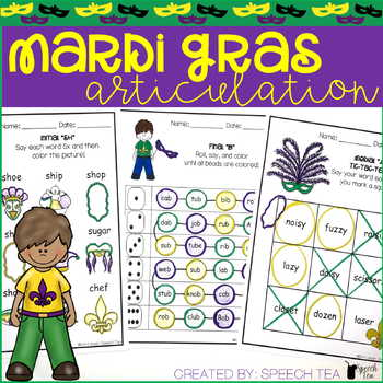 Mardi Gras Articulation Activities ALL SOUNDS