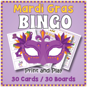 Mardi Gras BINGO - Mardi Gras Game