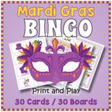 Mardi Gras Vocabulary BINGO & Memory Matching Card Game Activity