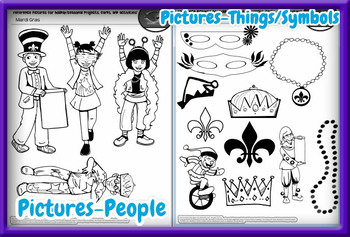 Mardi Gras Card and Craft Kit! Poems, Pictures,  Text, & Characters!
