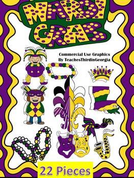Mardi Gras Celebration- Clip Art Set-22 Pieces Commercial Use