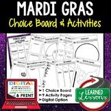 Mardi Gras Activities, Choice Board, Google Link, Digital