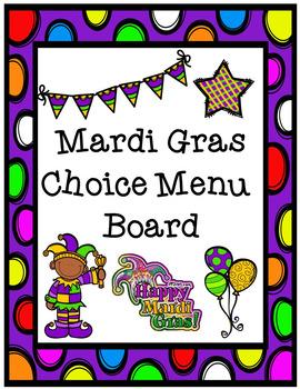 Mardi Gras Choice Menu