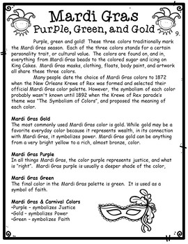 Mardi Gras Choice Menu Board with Printable Activities