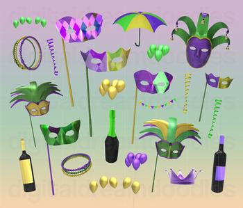 Mardi Gras Clip Art - Shrove Tuesday Digital Graphics