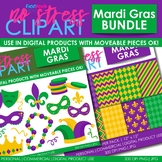 Mardi Gras Clipart Plus Digital Papers BUNDLE