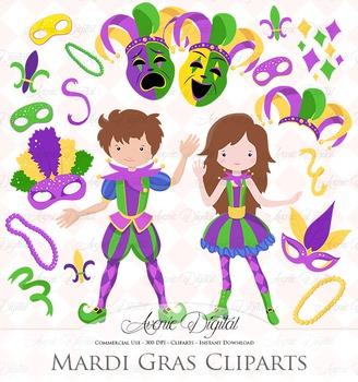 Mardi Gras Clipart Scrapbook printables, Carnival Clip art set vector graphics