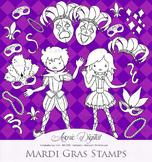 Mardi Gras Clipart Scrapbook printables, Carnival line art digital stamps