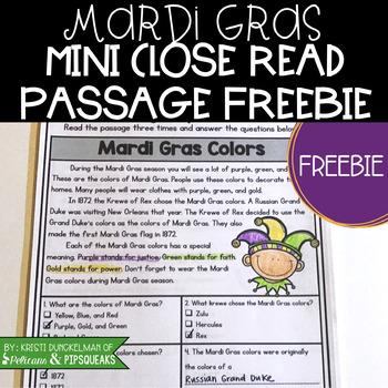 Mardi Gras Close Reading Passages Freebie