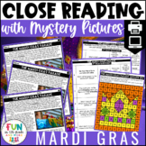 Mardi Gras Close Reads w/ Mystery Picture Activity for Grades 3-6