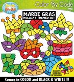 Mardi Gras Color By Code Shapes Clipart {Zip-A-Dee-Doo-Dah Designs}