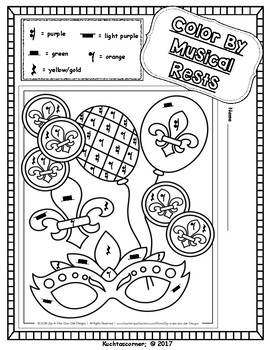 Mardi Gras Color By Music Activity Fun Packet - PDF Worksheet Collection