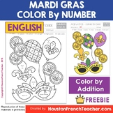 Mardi Gras Activities: Color by Code ADDITION (0 to 20) -