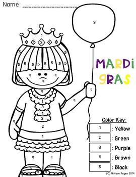 Mardi Gras Color by Code FREEBIE!! by OxBox | Teachers Pay Teachers