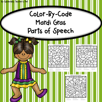 Mardi Gras-Color by Code-Parts of Speech