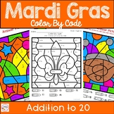 Mardi Gras Color by Number Addition to 20