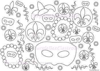 Mardi Gras Coloring Page By The Purple Bee Classroom Tpt
