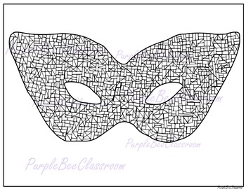 Mardi Gras Coloring Page Mask Doodle 2
