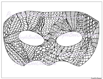 Mardi Gras Coloring Page -Mardi Gras Mask Doodle Coloring Page