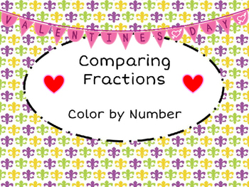 FREEBIE Mardi Gras and Valentines Day:  Comparing Fractions Color by Number