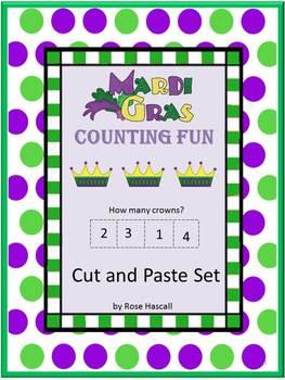 Mardi Gras NO PREP Cut and Paste Math Center Printables