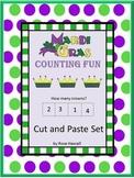 Mardi Gras Math Activities, Kindergarten Math Review, Cut and Paste Worksheets