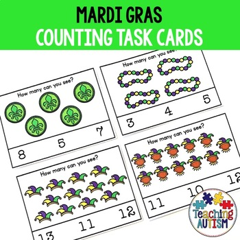 Mardi Gras Counting Task Cards, Math Activity