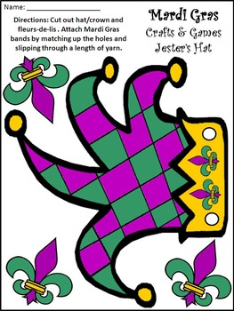 Mardi Gras Crafts: Mardi Gras Jester's Hat and Crowns Craft Activity Packet