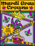 Mardi Gras Craft Activities: Mardi Gras Jester's Hat and Crowns Craft - Color