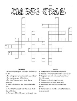 Mardi Gras - Crossword