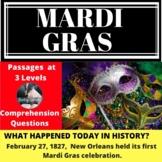 Mardi Gras Differentiated Reading Comprehension Passage Feb 27