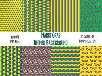 Mardi Gras Digital Background Paper - Personal and Commercial Use