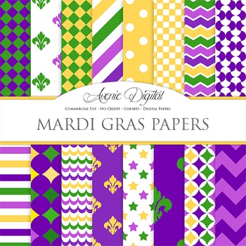 Mardi Gras Digital Paper Carnival printable pattern scrapb