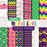 Mardi Gras Digital Paper - commercial use - scrapbook - USL 8.5 x 11 - Gold