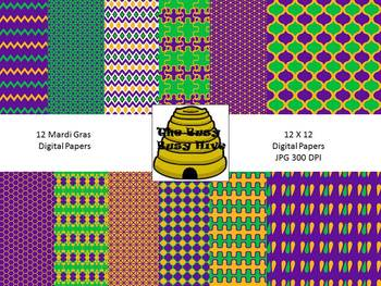 Mardi Gras Digital Papers {12 backgrounds for personal & c