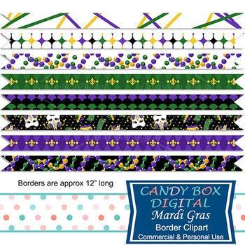 Mardi Gras Digital Ribbon Borders for blogs, webpages, scrapbooks
