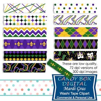 Mardi Gras Digital Washi Tape
