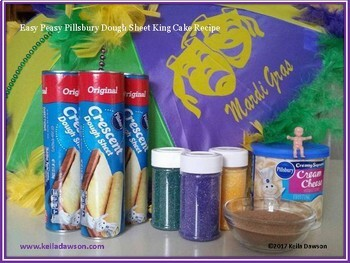 Mardi Gras Book Recipe: Easy Pillsbury Dough Sheet King Cake