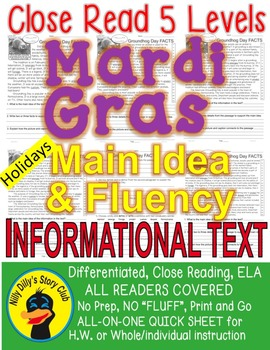 Mardi Gras FACTS Differentiated 5 level Close Read passage SAME CONTENT/VOCAB