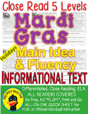 Mardi Gras FACTS Close Read 5 Level Passage Differentiated SAME CONTENT/VOCAB