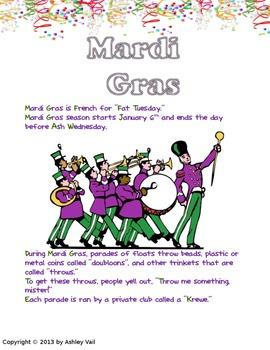 Mardi Gras Facts and Activities: Kindergarten