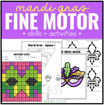 Mardi Gras Fine Motor Practice, Skills and Activities