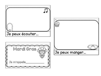 Mardi Gras French Flipbook Activity Assessment  template