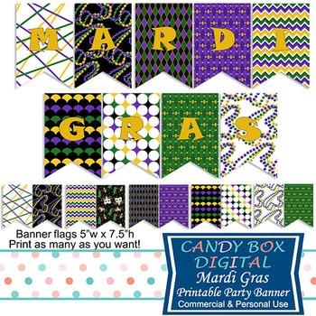 Mardi Gras Full-Size Ready-To-Print Party Banner