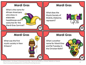 Mardi Gras Activities (Fat Tuesday) for February Unit