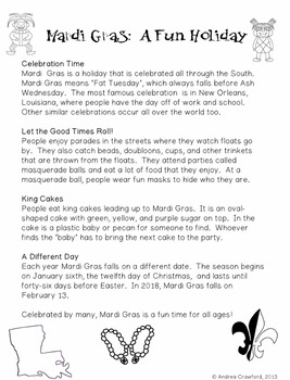 Mardi Gras Literacy Unit