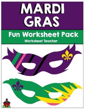 Mardi Gras Fun Worksheet Pack (K-2)
