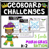 Mardi Gras Geoboard Geometry Challenges -Holiday Task Cards-Fine Motor Skills