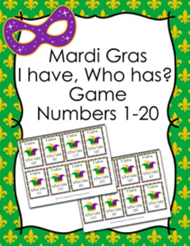 Mardi Gras I Have Who Has? Number Recognition Game 1-20