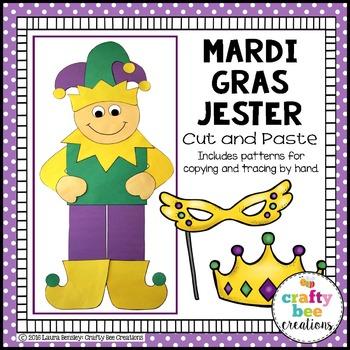 Mardi Gras Jester Carver Cut and Paste